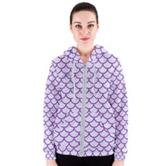 Scales1 White Marble & Purple Denim (r) Women s Zipper Hoodie