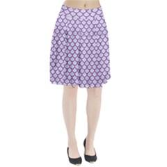 Scales1 White Marble & Purple Denim (r) Pleated Skirt