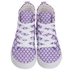 Scales1 White Marble & Purple Denim (r) Kid s Hi Top Skate Sneakers