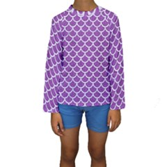 Scales1 White Marble & Purple Denim Kids  Long Sleeve Swimwear