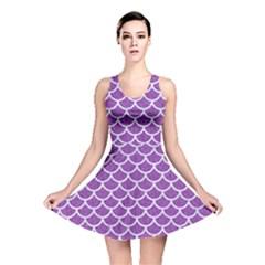 Scales1 White Marble & Purple Denim Reversible Skater Dress