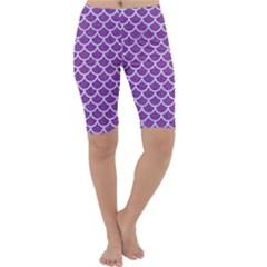 Scales1 White Marble & Purple Denim Cropped Leggings