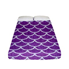 Scales1 White Marble & Purple Denim Fitted Sheet (full/ Double Size)
