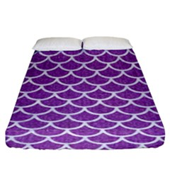 Scales1 White Marble & Purple Denim Fitted Sheet (king Size)