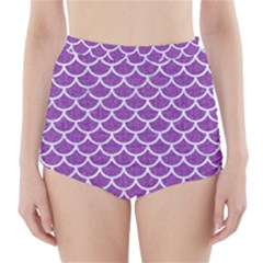 Scales1 White Marble & Purple Denim High Waisted Bikini Bottoms