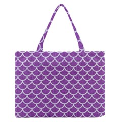 Scales1 White Marble & Purple Denim Zipper Medium Tote Bag