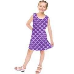Scales1 White Marble & Purple Denim Kids  Tunic Dress