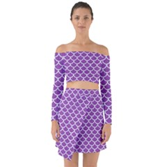 Scales1 White Marble & Purple Denim Off Shoulder Top With Skirt Set