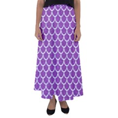 Scales1 White Marble & Purple Denim Flared Maxi Skirt