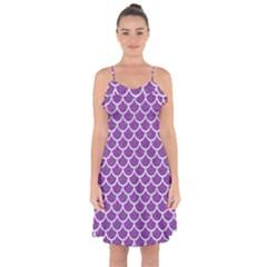 Scales1 White Marble & Purple Denim Ruffle Detail Chiffon Dress