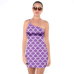 Scales1 White Marble & Purple Denim One Soulder Bodycon Dress