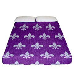 Royal1 White Marble & Purple Denim (r) Fitted Sheet (california King Size)