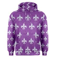 Royal1 White Marble & Purple Denim (r) Men s Pullover Hoodie by trendistuff