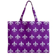 Royal1 White Marble & Purple Denim (r) Zipper Mini Tote Bag