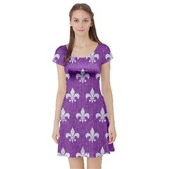 Royal1 White Marble & Purple Denim (r) Short Sleeve Skater Dress