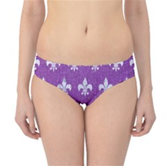Royal1 White Marble & Purple Denim (r) Hipster Bikini Bottoms