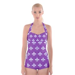 Royal1 White Marble & Purple Denim (r) Boyleg Halter Swimsuit