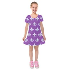 Royal1 White Marble & Purple Denim (r) Kids  Short Sleeve Velvet Dress