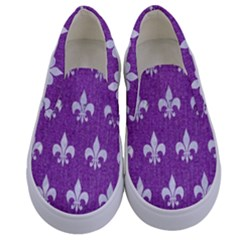Royal1 White Marble & Purple Denim (r) Kids  Canvas Slip Ons