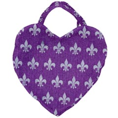 Royal1 White Marble & Purple Denim (r) Giant Heart Shaped Tote