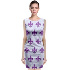Royal1 White Marble & Purple Denim Classic Sleeveless Midi Dress