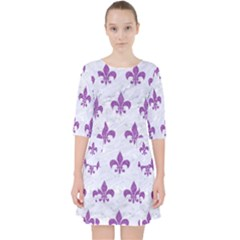 Royal1 White Marble & Purple Denim Pocket Dress