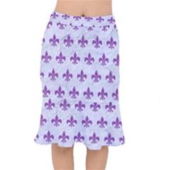 Royal1 White Marble & Purple Denim Mermaid Skirt
