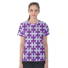 Puzzle1 White Marble & Purple Denim Women s Cotton Tee