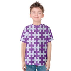 Puzzle1 White Marble & Purple Denim Kids  Cotton Tee
