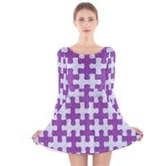 Puzzle1 White Marble & Purple Denim Long Sleeve Velvet Skater Dress