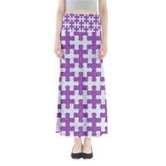 Puzzle1 White Marble & Purple Denim Full Length Maxi Skirt