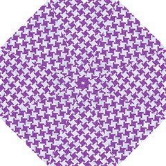 Houndstooth2 White Marble & Purple Denim Hook Handle Umbrellas (small)