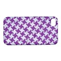 HOUNDSTOOTH2 WHITE MARBLE & PURPLE DENIM Apple iPhone 4/4S Hardshell Case with Stand View1