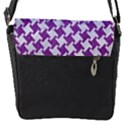 HOUNDSTOOTH2 WHITE MARBLE & PURPLE DENIM Flap Messenger Bag (S) View1