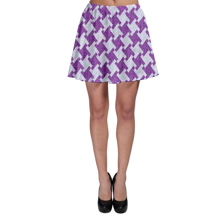 HOUNDSTOOTH2 WHITE MARBLE & PURPLE DENIM Skater Skirt