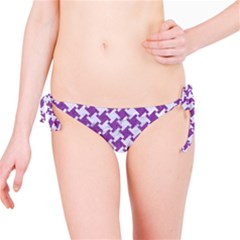Houndstooth2 White Marble & Purple Denim Bikini Bottom