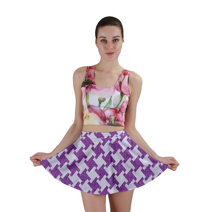 HOUNDSTOOTH2 WHITE MARBLE & PURPLE DENIM Mini Skirt