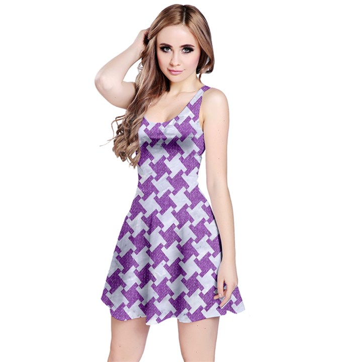 HOUNDSTOOTH2 WHITE MARBLE & PURPLE DENIM Reversible Sleeveless Dress