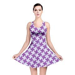 Houndstooth2 White Marble & Purple Denim Reversible Skater Dress