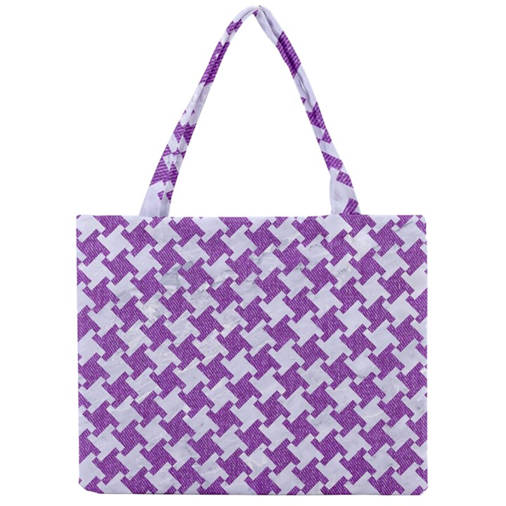HOUNDSTOOTH2 WHITE MARBLE & PURPLE DENIM Mini Tote Bag