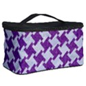HOUNDSTOOTH2 WHITE MARBLE & PURPLE DENIM Cosmetic Storage Case View2