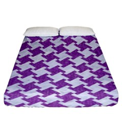 Houndstooth2 White Marble & Purple Denim Fitted Sheet (king Size)