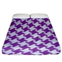 HOUNDSTOOTH2 WHITE MARBLE & PURPLE DENIM Fitted Sheet (King Size) View1