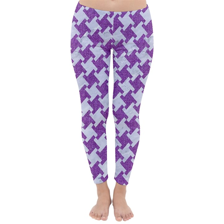 HOUNDSTOOTH2 WHITE MARBLE & PURPLE DENIM Classic Winter Leggings