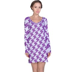 Houndstooth2 White Marble & Purple Denim Long Sleeve Nightdress