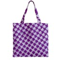 HOUNDSTOOTH2 WHITE MARBLE & PURPLE DENIM Zipper Grocery Tote Bag View1
