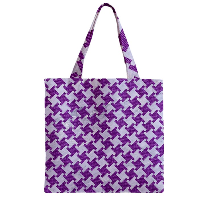 HOUNDSTOOTH2 WHITE MARBLE & PURPLE DENIM Zipper Grocery Tote Bag