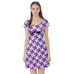 Houndstooth2 White Marble & Purple Denim Short Sleeve Skater Dress