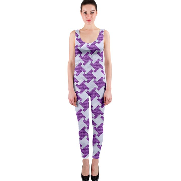 HOUNDSTOOTH2 WHITE MARBLE & PURPLE DENIM One Piece Catsuit