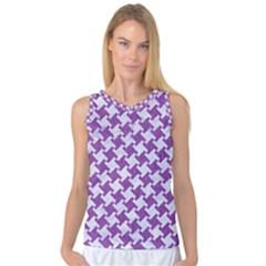 Houndstooth2 White Marble & Purple Denim Women s Basketball Tank Top